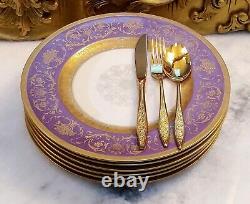 K A Krautheim Selb Bavaria Purple White Gold Encrusted Rim Dinner Plates Set 6
