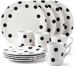 Kate Spade New York All in Good Taste Deco Dot 12-PIece Dinnerware Set NEW