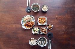 Korean Handmade Ceramic BlueWhite Striped Plate dish Dinnerware/tableware sets