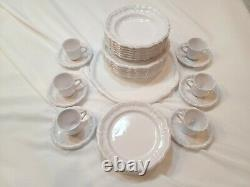 Lallier a Moustiers French Pottery Dinnerware Set of 31 Service for 6 + Platter