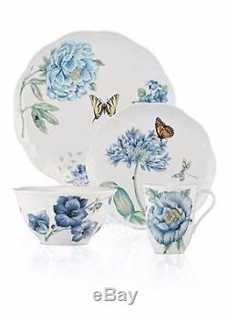 Lenox Butterfly Meadow Blue Dinnerware Set 28 Piece Service For 4 Porcelain NEW