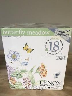 Lenox Butterfly Meadow Bonus Pack 18-Piece Dinnerware Set + 2 MUGS New