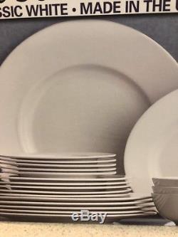 Lenox Clic White Fine Bone China American 24 Piece Dinnerware Set Usa Serve 6