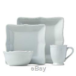 Lenox French Perle Bead 16-pc Scalloped Square Dinnerware Set for 4 in 2 colors