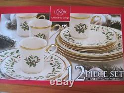 Lenox Holiday 12-piece Dinnerware Set Plate Salad Mug Bone China