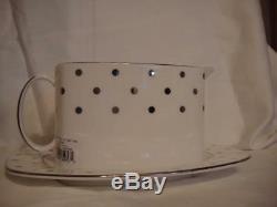 Lenox Kate Spade Larabee Dot Platinum China Gravy Boat & Underplate New