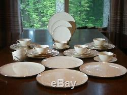 Lenox Olympia Platinum 33 Piece Dinnerware Set Collectible Porcelain Dishes