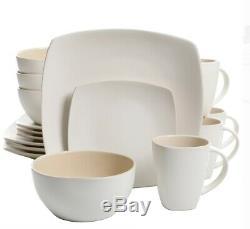 Linen Square 48 Piece Dinnerware Set Serves 12 Place White Dish Bowl Plate Cup