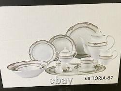 Lorren Home Trends Victoria 57-Pc Dinnerware Set, Service for 8 New Open $500