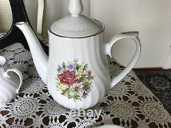 Lynns Fine China Dinnerware Set 8 Place Setting- 45 Pieces FLOWERS