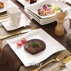 MALACASA 30-Piece Dinnerware Set White Porcelain Kitchen Dish Dinner Plates Mugs