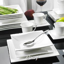 MALACASA Carina 30pcs Porcelain Dinnerware Set Plates Cups Saucers Service for 6