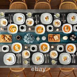 MALACASA Elisa 50-Pieces Dinnerware Set Porcelain Dinner Kitchen Dishes for 6