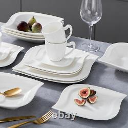 MALACASA Elvira 30-Piece Porcelain White Dinnerware Set for 6 Dinner Dishes Set