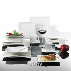 MALACASA Flora 30-Piece Porcelain Dinnerware Set Wave-shaped Plates Cups Saucers