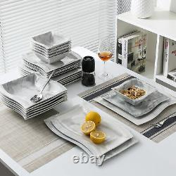MALACASA Flora Porcelain Dinnerware Set White/Marble Grey Wave-shaped Tableware