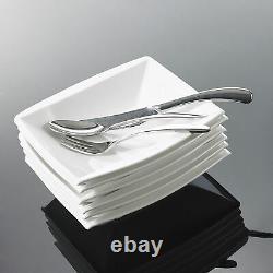MALACASA Series Blance 30-Piece Dinnerware Set Porcelain Kitchen Plates Cups Set