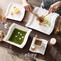 MALACASA, Series Flora, 30-Piece Dinnerware Set Wave Shaped Plates Service for 6