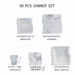 MALACASA, Series Flora Porcelain White/Marble Grey Dinnerware Set Dinner Kitchen