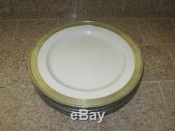 MATCH Pewter CONVIVIO 4 White SALAD Plates Fine Italian Ceramic Dinnerware