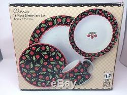 Mary Engelbreit Cherries 16 Piece Dinner Ware Set Vintage 1994 Sakura Nos Nib