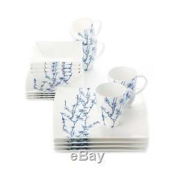 Maxwell 16pc Oriental Blossom Dinnerware Set White Blue Japanese Service Plates