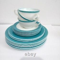Mid Century Pyrex White Milk Glass Turquoise Blue Band 50s Dinnerware Sets