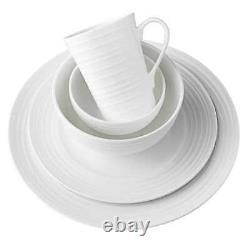 Mikasa, 40 Pc Bone China White Dinnerware Set w Swirl Pattern, 8 Place Setting