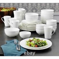 Mikasa Dinnerware Set Swirl Bone China 40-Piece White Serves 8 Classic Elegant