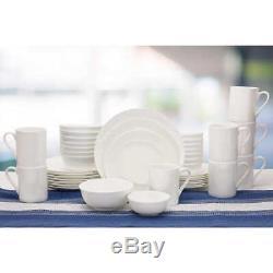 Mikasa Dinnerware Set White Vail Bone China 40-Piece Serves 8 Durable Elegant