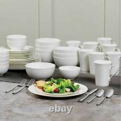 Mikasa Lausanne Dinnerware Set 40 Piece White Bone China Serves 8