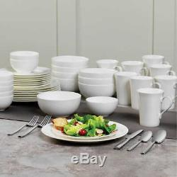 Mikasa Lausanne White 40 Piece Bone China Dinnerware Set Service for 8
