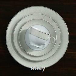 Mikasa Parchment White 40 pc Porcelain Dinnerware Service For 8 Platinum Accent