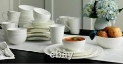 Mikasa Swirl White 40 Piece Dinnerware Set Bone China Service for 8 Great Gift