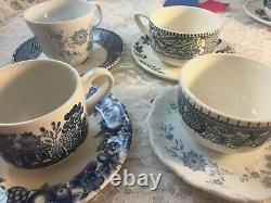 Mismatched Vintage China Transferware 6 settings Dinnerware Blue and White # 1