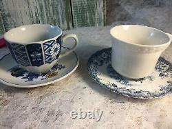 Mismatched Vintage China Transferware 8 settings Dinnerware Blue and White # 1