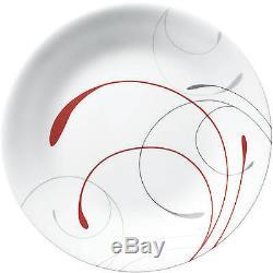 Modern Dinnerware Set 16-32 Piece Service 4-8 Bowls Plates Mug Red White Vitrell