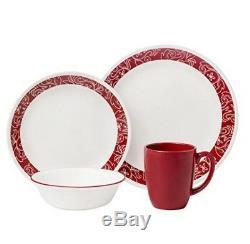 Modern Red & White 48 Piece Dinnerware Set 12 Place Setting Serving Dish Bowl P