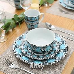 Moroccan Turkish 32 Piece 8 PERSON Porcelain Dinner Dinnerware Set Plate Bowls