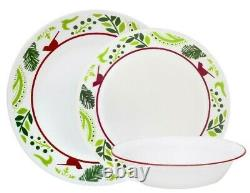 NEW 16-pc Corelle BIRDS and BOUGHS Dinnerware Set CHRISTMAS Peace Joy Red Green