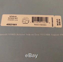 NEW $460 Wedgwood Bone China White Intaglio 16-Piece Dinnerware Set