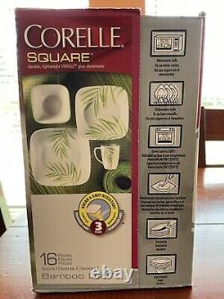 NEW Corelle Square Bamboo Leaf 16 piece Dinnerware Set Service for 4