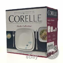 NEW Corelle Square Dalena Dinnerware Set in White / Blue Flowers 16 Pieces