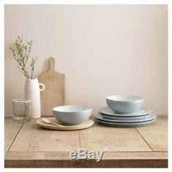 NEW Denby Light Blue White Stoneware 12 Piece Dinner Set Plates Bowls Dinnerware