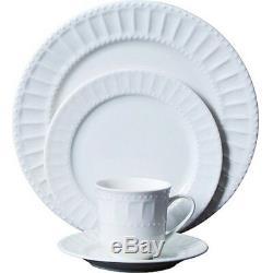 NEW Gibson Home Regalia 46-Piece White Plates Bowls Dinnerware and Serveware Set