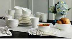 NEW Mikasa Swirl White 36-piece Bone China Dinnerware Set- $$ 4 Charity