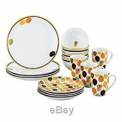 NEW Rachael Ray Dinnerware Little Hoot 16 Piece Dinnerware Set FREE SHIPPING