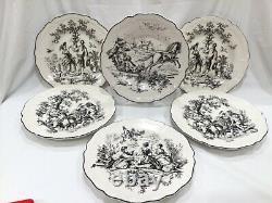 NEW UNUSED SET 6 Tabletop Unlimited New England Toile Dinner Plates Black 10 7/8