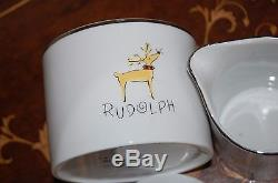 NWOT Pottery Barn REINDEER COLLECTION Cream & Lidded Sugar RUDOLPH