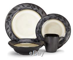 New Dinnerware Circle Plate Dishes Service Kitchen Home Dining Ware Set 16-Piece